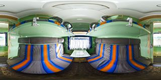 3D spherical panorama with 360 viewing angle. Ready for virtual reality or VR. Full equirectangular projection. Interior of train. Business class coupe. Spring stock image