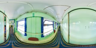 3D spherical panorama with 360 viewing angle. Ready for virtual reality or VR. Full equirectangular projection. Interior of train. royalty free stock image