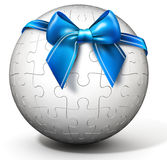 3d spherical puzzle with bow Stock Photo
