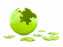 3d spherical puzzle with pieces missing. Stock Image