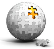 3d spherical puzzle with a single piece disconnected Royalty Free Stock Images