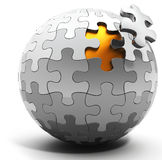 3d spherical puzzle with a single piece disconnected Stock Photography