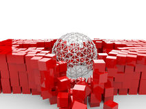 3d spherical structures destroying red cubes. 3d render of a spherical structures destroying red cubes stock illustration