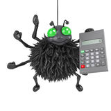 3d Spider has a calculator Stock Photo