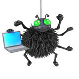 3d Spider has a laptop Royalty Free Stock Photography