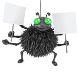 3d Spider holding two placards. 3d render of a spider holding two blank placards Royalty Free Stock Image