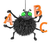 3d Spider learns the alphabet Stock Photo