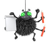 3d Spider with notepad and pencils Stock Images