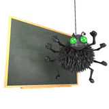 3d Spider teaches at the blackboard Stock Photo