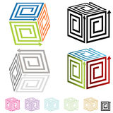 3d Spiral Arrow Boxes. An image of 3d spiral arrow boxes stock illustration