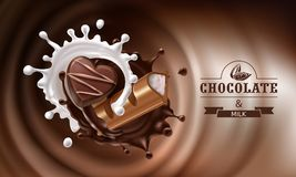 3D splashes of melted chocolate and milk with falling piece of chocolate bar and candy. 3D realistic illustration, splashes of melted chocolate and milk with Royalty Free Stock Photography