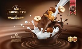3D splashes of melted chocolate and milk with falling piece of chocolate bar. 3D realistic illustration, splashes of melted chocolate and milk with falling Stock Photography
