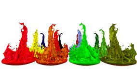 3d splashes of liquid. Paint bounce in 4k on white background. Simulation of splashes of ink on a musical speaker that. 3d splashes of paint dance in 4k on white stock illustration