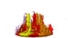 3d splashes of paint dance in 4k on white background. Simulation of splashes of ink on a musical speaker that play music.  vector illustration