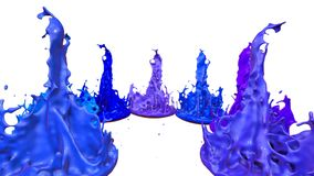3d splashes of liquid. Paint bounce in 4k on white background. Simulation of splashes of ink on a musical speaker that. 3d splashes of paint dance in 4k on white vector illustration