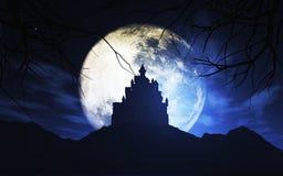 3D spooky castle against a moonlit sky Stock Photos