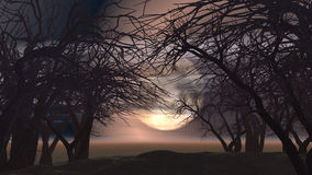 3D spooky landscape with trees Royalty Free Stock Images