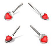 3D Spoon the heart icon above. 3D Icon Design Series. Stock Photo