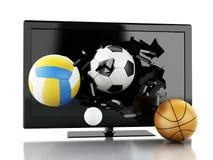 3d Sport balls breaking Tv screen. Stock Photo