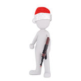 3d sportsman , hunter or soldier with a rifle. In his hand wearing a red Christmas hat, rendered illustration on white Stock Image