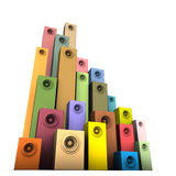 3d sprekers correct systeem in veelvoudige kleur over wit Royalty-vrije Stock Foto