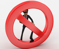 3d spy man hide behind no entry or stop sing concept Stock Image