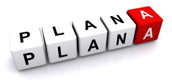 Plan A concept. 3D square blocks with individual letters spelling out 'Plan A' isolated on a white background, the word 'Plan' in white with black lettering and Royalty Free Stock Image