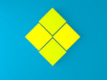 3d square box on blue wall. 3d yellow square box on blue wall Royalty Free Stock Photography