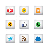 3d square button designs of camera, like, messenger bird, phone. Receiver, share - social network vector icons. This also represents rss, cloud computing Stock Photos