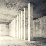 3d square empty interior with concrete walls and columns. Abstract architecture background, empty interior with concrete walls and columns. Square composed 3d Royalty Free Stock Photos