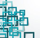 3D Square geometric background from blue paper frames. Vector texture pattern with shadow Stock Photography