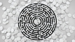 3D Square Tiles Scattered On The Floor With Labyrinth Symbol, 3D Royalty Free Stock Image