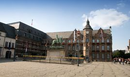 Düsseldorf townhall and the statue of Jan Wellem Royalty Free Stock Image