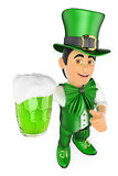 3D St Patrick day man with a beer Royalty Free Stock Image