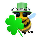 3d St Patricks day bee. 3d render of a bee celebrating St Patricks day royalty free illustration