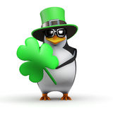 3d St Patricks Day penguin Royalty Free Stock Images