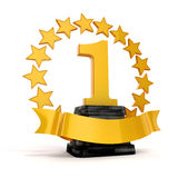 3d 1st plaatstrofee en gouden sterren Stock Foto's