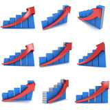 3d stack of books bar graph chart with red arrow Royalty Free Stock Photography