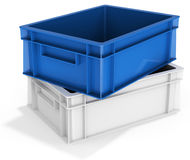 3d stack of  empty plastic crates. 3d stack of empty plastic crates on white background  3D illustration Royalty Free Stock Photography