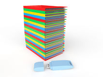 3d stack of file folders and USB flash drive Royalty Free Stock Photography