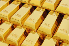 3d stack of gold bars. Royalty Free Stock Image