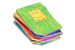 3D Stack of SIM cards. Stack of SIM cards 3D on white background stock illustration