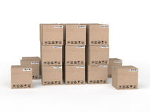 3d stack to carton boxes Stock Images