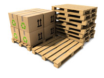 3d Stack of wooden shipping pallets Stock Photography