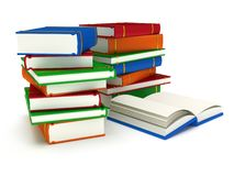 3d Stacks of Books and open book on white back Royalty Free Stock Photo