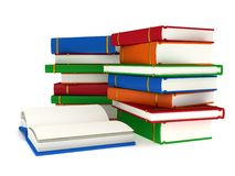 3d Stacks of Books and open book on white back Stock Photography