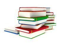 3d Stacks of Books and open book on white back Stock Photos