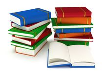 3d Stacks of Books and open book on white back Stock Images