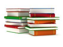 3d Stacks of Books on white back Stock Image