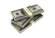 3D Stacks of Hundred US Dollars Royalty Free Stock Photos
